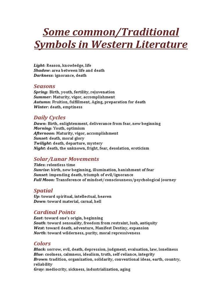 Some Common Traditional Symbols In Western Literature Spirituality