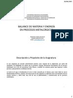 Balance de materia y energía en procesos metal