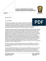 D.C. Fire & EMS Letter On Opening Date For Streetcar