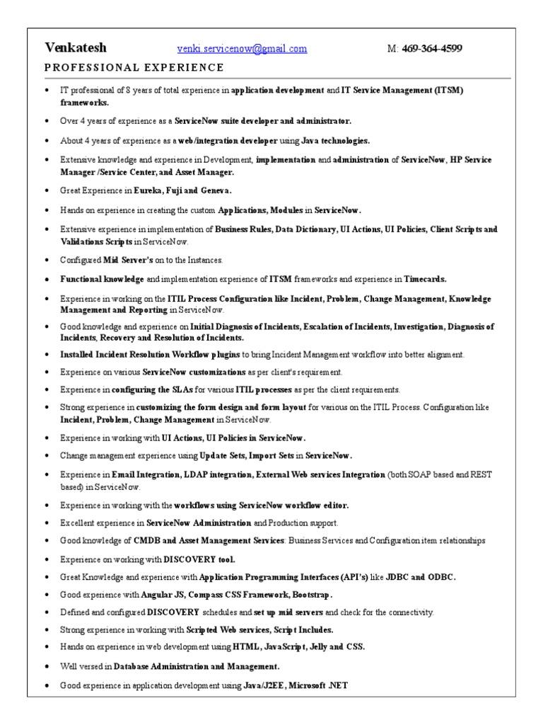 Venkatesh Resume   Web Service   Itil