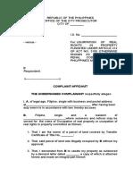 Complaint Affidavit Art 312