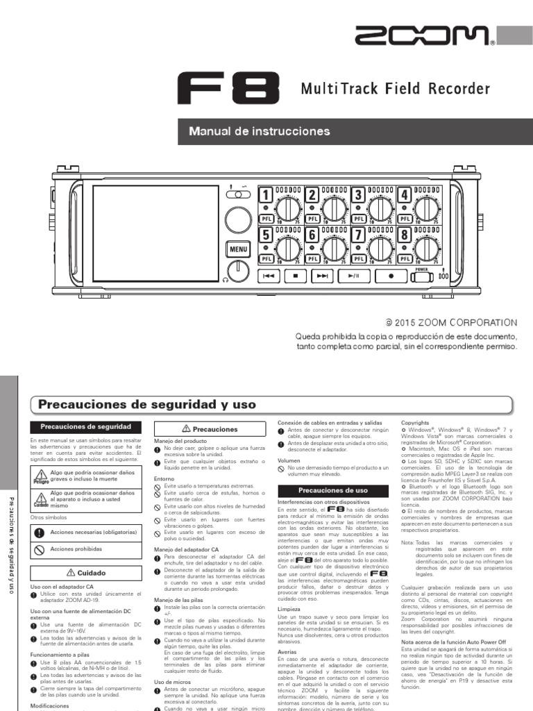 Zoom F8 Multitrack Field Recorder (Manual de Instrucciones