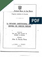 """""""La novación constitucional en la historia del derecho peruano"""""""
