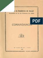 Cuerpo de Bomberos de Ancud. Fundado el 12 de Febrero de 1856. Orden del Día N° 8 Dictada por la Comandancia el 31 de Octubre de 1939. (1939)