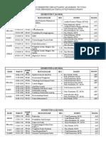 Jadwal Kuliah Semester Genap Tahun Akademik 2015