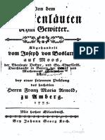 Boslarn, Joseph von 1775 Von dem Glockenläuten beim Gewitter