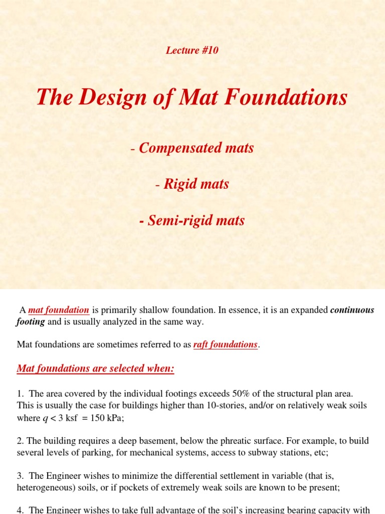 Lecture10 Mat Foundations | Foundation (Engineering) | Deep Foundation