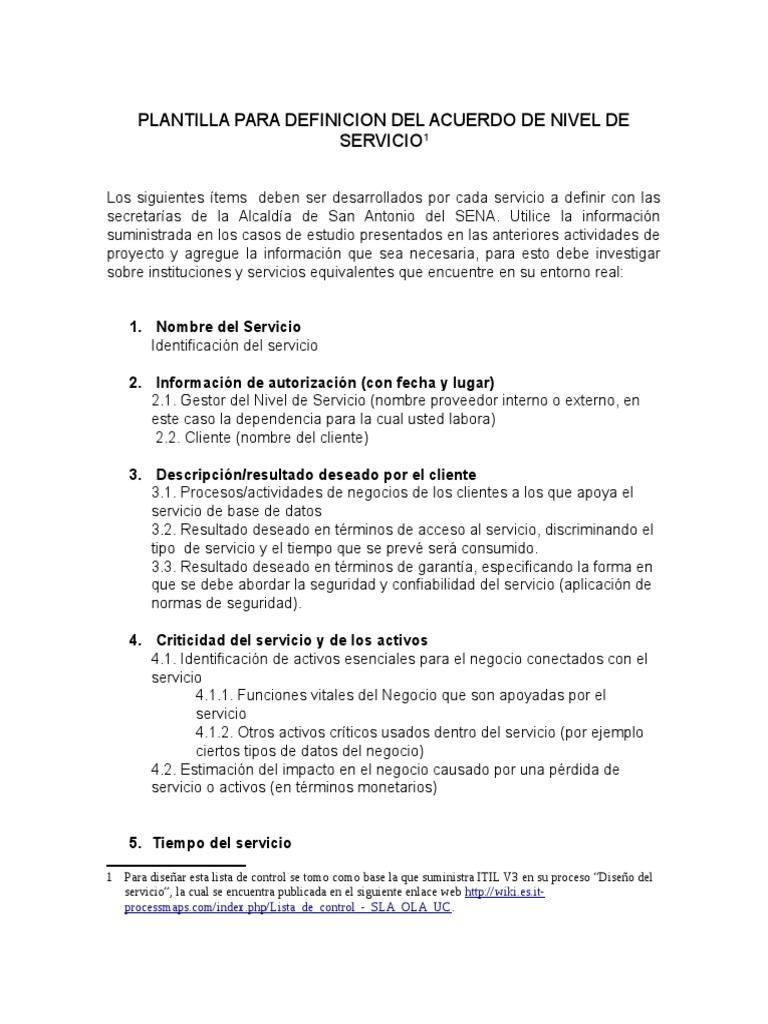 Plantilla Para La Definición de Acuerdos de Niveles de Servicio