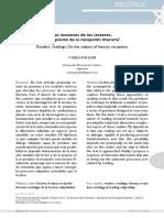 Las Lecciones de Los Lectores. A Propósito de la Recepción Literaria. PAPALINI, Vanina