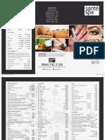Sante Spa price list 2015/16