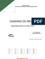 prova do concurso da prefeitura de São mateus do sul Engenheiro Eletricista 2015