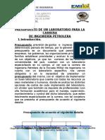 Presupuesto Para Un Laboratorio de Ing. Petrolera