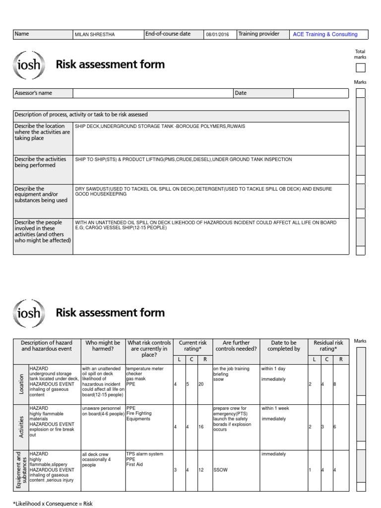 Iosh Risk Assessment Hazards Risk