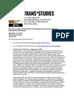 Trans*studies Conference, Tucson, AZ, 2016