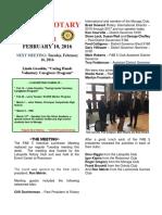 Moraga Rotary Newsletter Feb 10, 2016