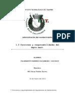 1.3 Funciones y Responsabilidades Del Departamento de mantenimiento