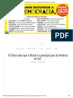 A China Sabe Que o Brasil é o Principal País Da América Do Sul' _ O Cafezinho