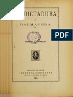 La Dictadura de Balmaceda. Poema. (1891)