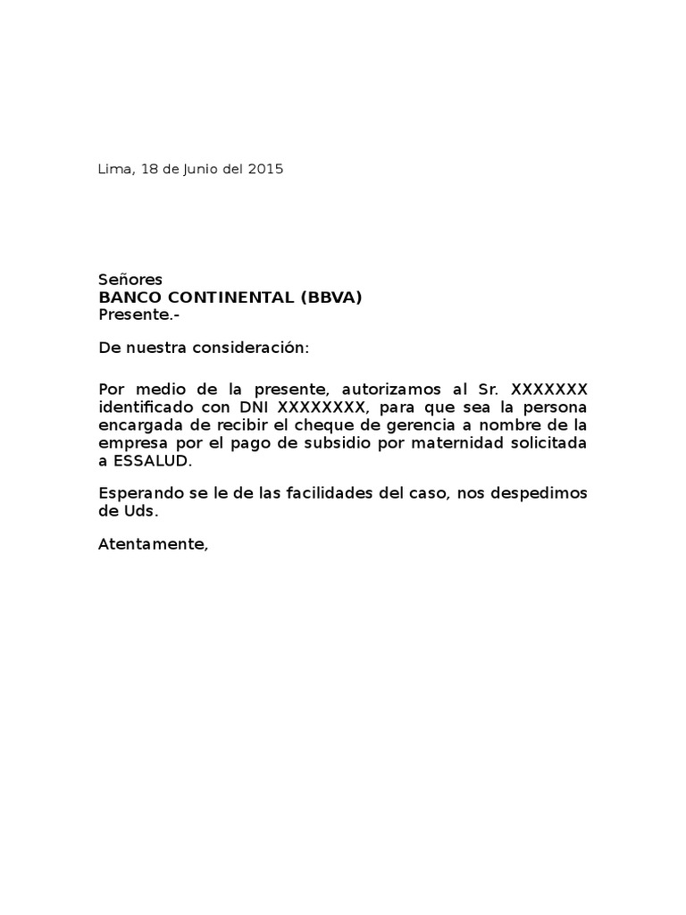 Carta Banco Bbva Subsidio Essalud