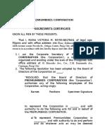 Secretary's Certificate