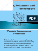 Gender,Politeness and Stereotypes Bab 12