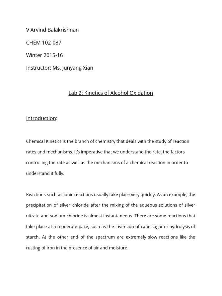 CHEM102 087 Lab Report Vb367 Unit Processes – Chemical Kinetics Worksheet