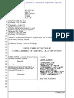 Chris Howe v McDonalds Complaint