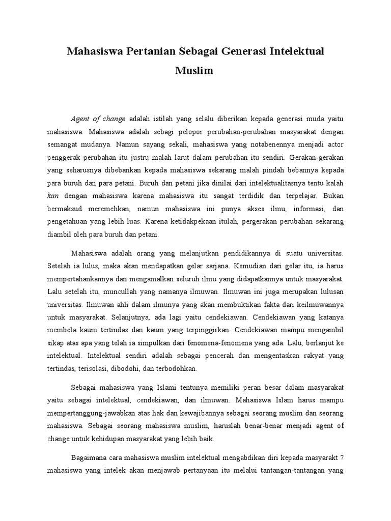 Contoh Essay Mahasiswa Sebagai Generasi Intelektual Muslim