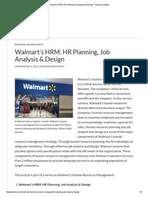 Walmart's HRM_ HR Planning, Job Analysis & Design - Panmore Institute | Human  Resource Management | Walmart