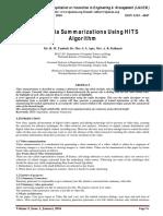 Multimedia Summarization using HITS Algorithm