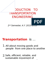 Introduction to Transportation Engineering 2015-2016