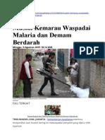 Musim Kemarau Waspadai Malaria Dan Demam Berdarah