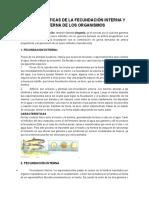 Características de La Fecundación Interna y Externa de Los Organismos