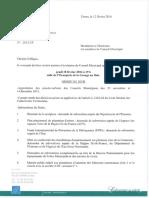 Ordre du jour du conseil municipal du 18 février 2016