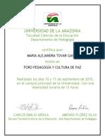 Certificados Foro-Pedagogía y Cultura Ambiental Uniamazonia Sept 2015
