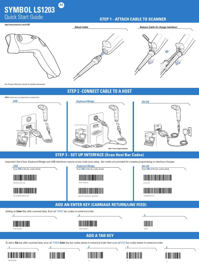 Motorola LS1203 Quick Start Guide   Barcode   Image Scanner