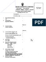 Malabar Cements - Application Form