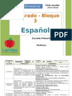Plan 1er Grado - Bloque 3 Español
