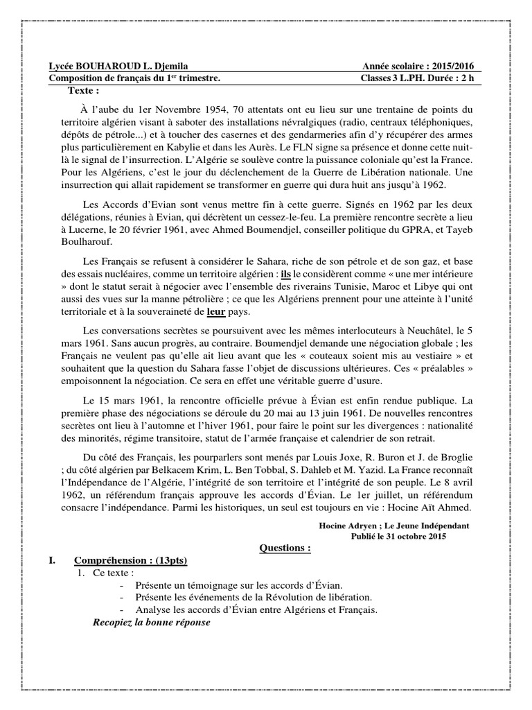 composition de fran ais du 1er trimestre 3as version finale 2 - Resume De Science 3as Algerie