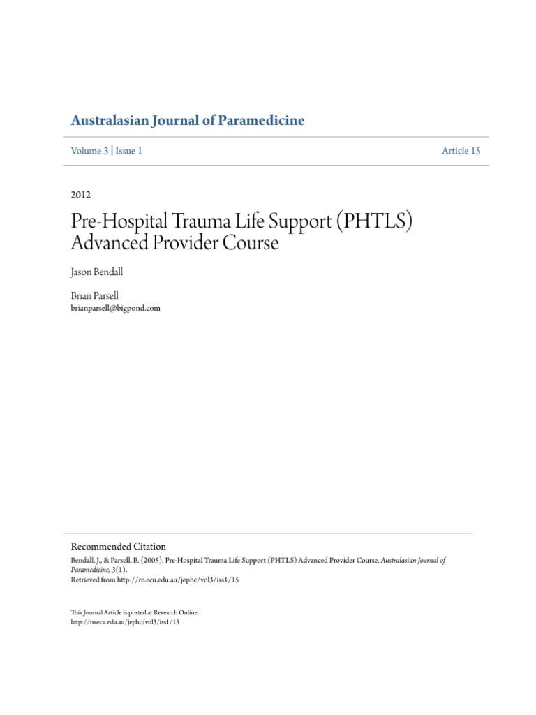 Pre Hospital Trauma Life Support Phtls Advanced Provider Course