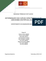 DETERMINAÇÃO DAS CURVAS CARACTERÍSTICAS DE UMA BOMBA CENTRÍFUGA (GILKES)