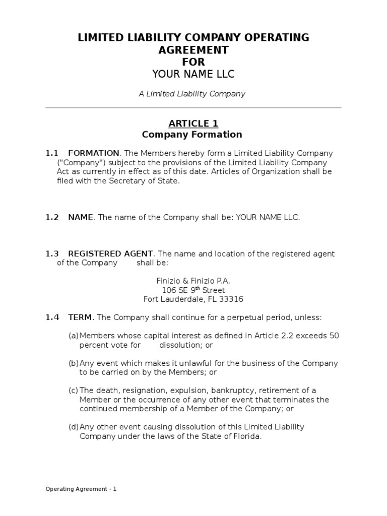 llc operating agreement   limited liability company   indemnity