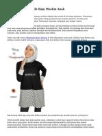 Teknik Cara Memilih Baju Muslim Anak