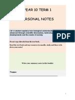 YEAR 10 TERM 1 Summary Booklet