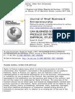 Knight 1987, CAN BUSINESS SCHOOLS PRODUCE ENTREPRENEURS? AN EMPIRICAL STUDY