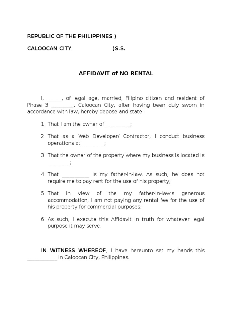 Affidavit of No Rental Sample – Affidavit Samples