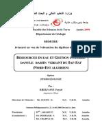 Ressources en Eau Et Gestion Integree Dans Le Bassiin Versant Du Saf-saf (Nord-est Algeriien)