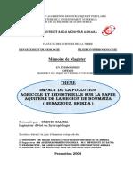 Impact de La Pollution Agricole Et Industrielle Sur La Nappe Aquifere de La Region de Boumaiza.benazzouz, Skikda )