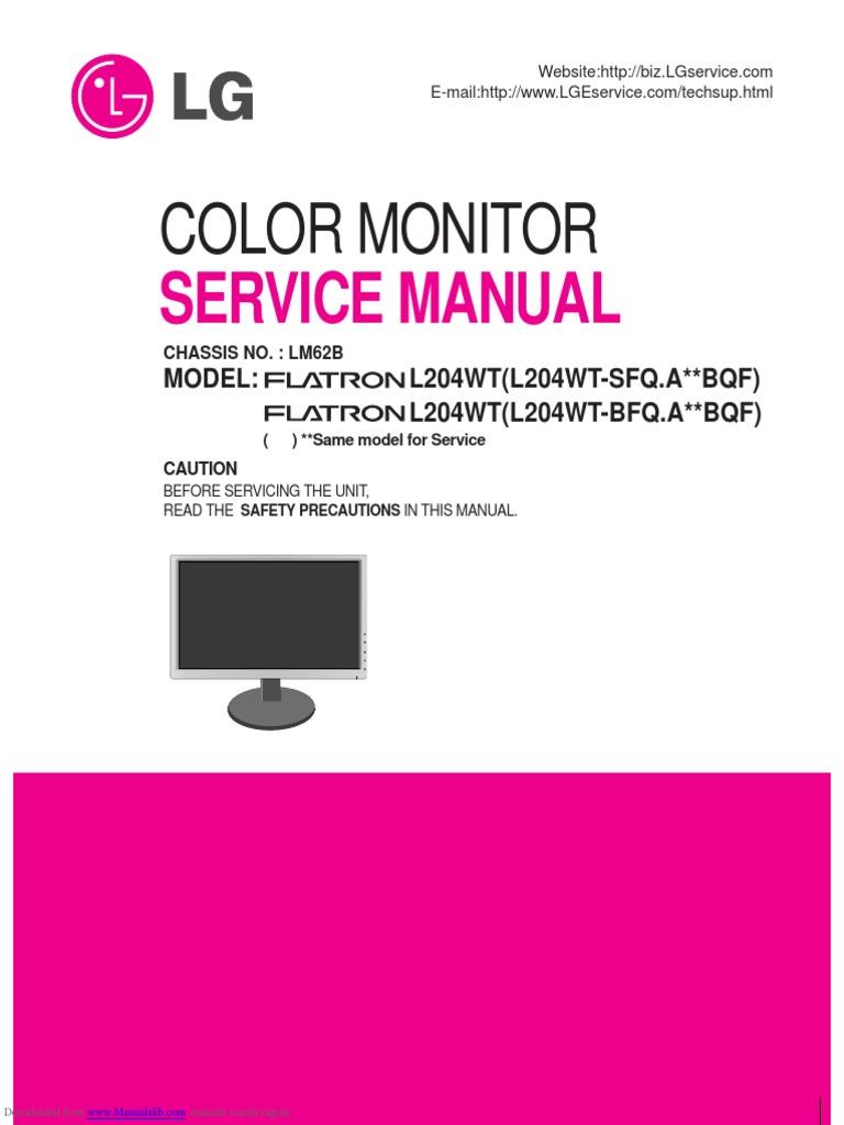 lg flatron l204wt sf service manual printed circuit board rectifier rh scribd com lg monitor service manual lg ips led monitor owner's manual