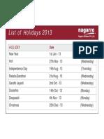 List of Holidays 2013